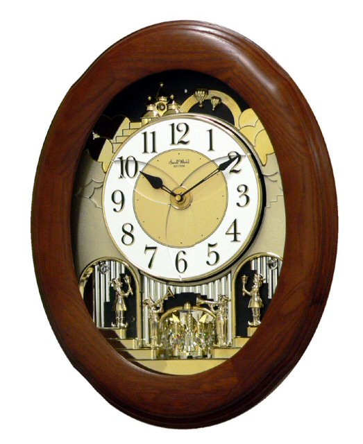 Rhythm Small World 4MH780-R06 CTS Nostalgia Oak Clarion Tone System Magic Motion Clock