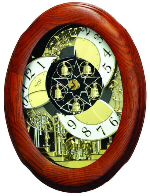 Rhythm Small World 4MH780-R06 CTS Nostalgia Oak Clarion Tone System Magic Motion Clock  Open